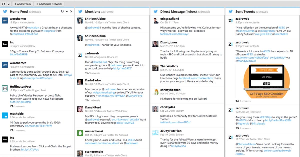 hootsuite herramientas twitter gestión