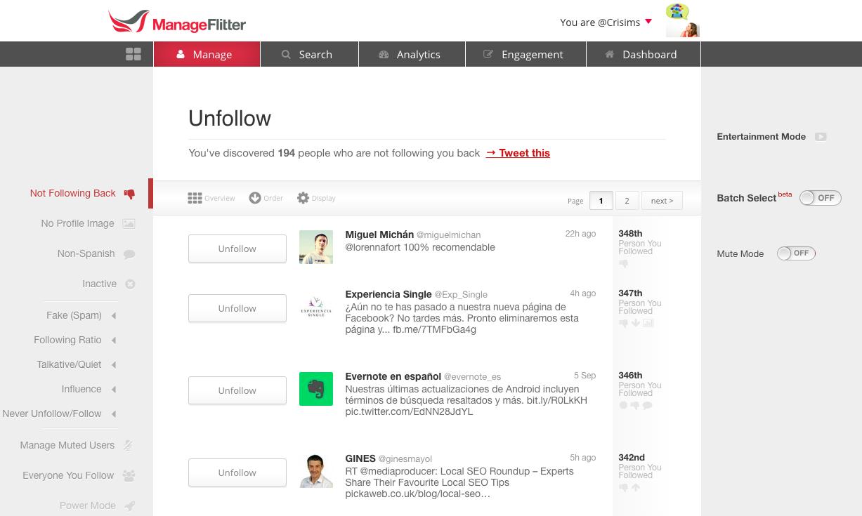 manage flitter herramientas twitter limpieza busqueda